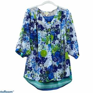 Anthropologie fig and flower floral striped top